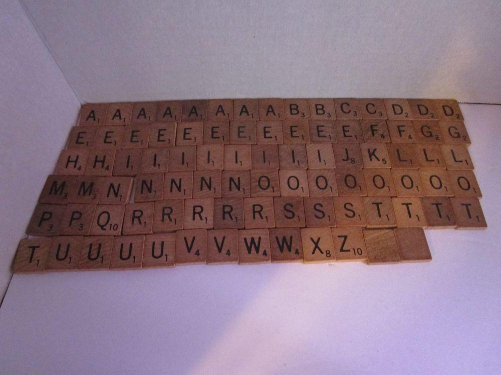f6dec2799cc4 Vintage Set of 88 Wooden Alphabet Scrabble Replacement Tiles Black Letters  Craft #Scrabble