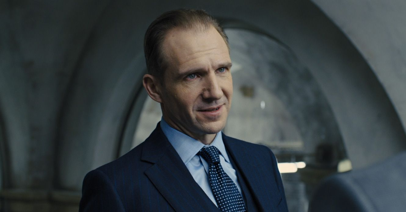Ralph Fiennes In Bond Blue Pin Striped Three Piece With A