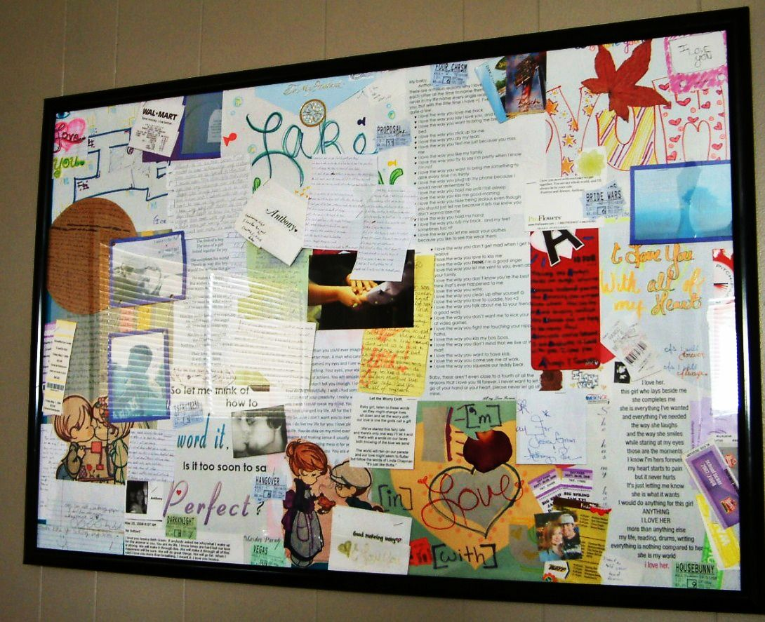 A poster sized picture frame filled with every love note, movie stub ...