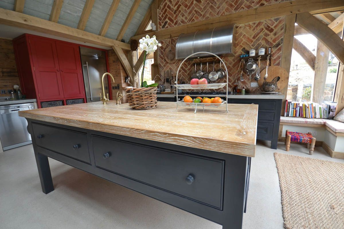 Adistressed Oak Worktop Bleached Annie Sloane Chalk Paint Quooker Tap Kitchen Rustic Barn Cornwall Guernsey Bespoke