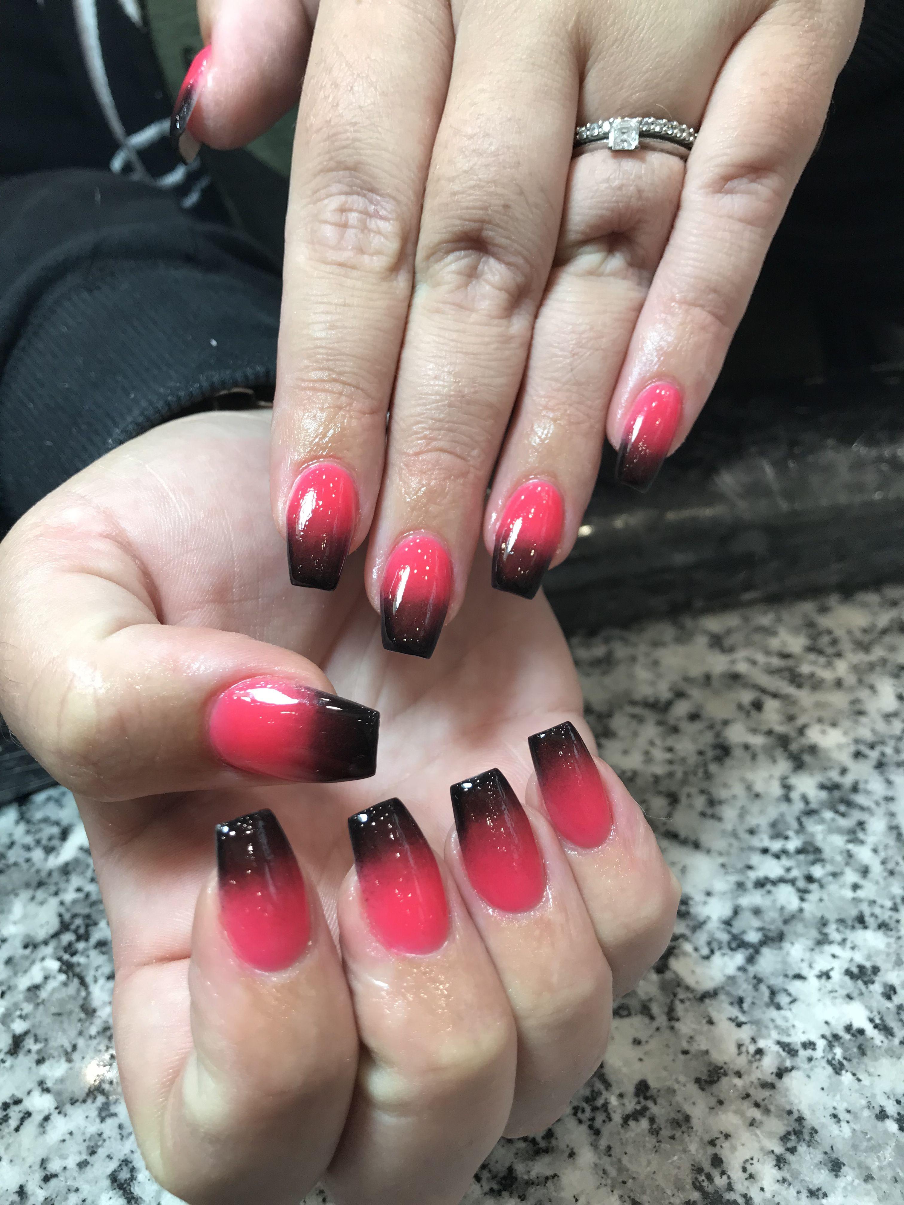 Ombre Sns Nails Black And Fluro Sns Nails Sns Nails Designs Nails