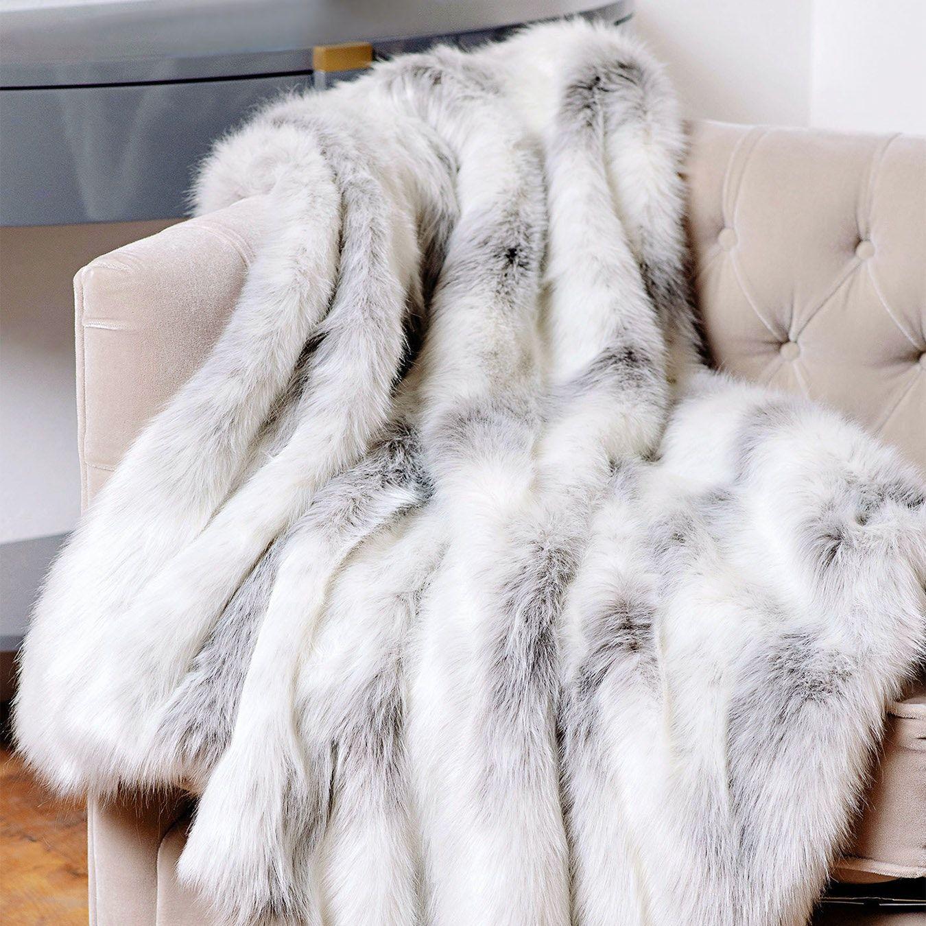 Limited Edition Throw White Grey Icelandic Fox Faux Fur In 2021 Faux Fur Throw Fur Blanket Fur Throw White faux fur throw blanket