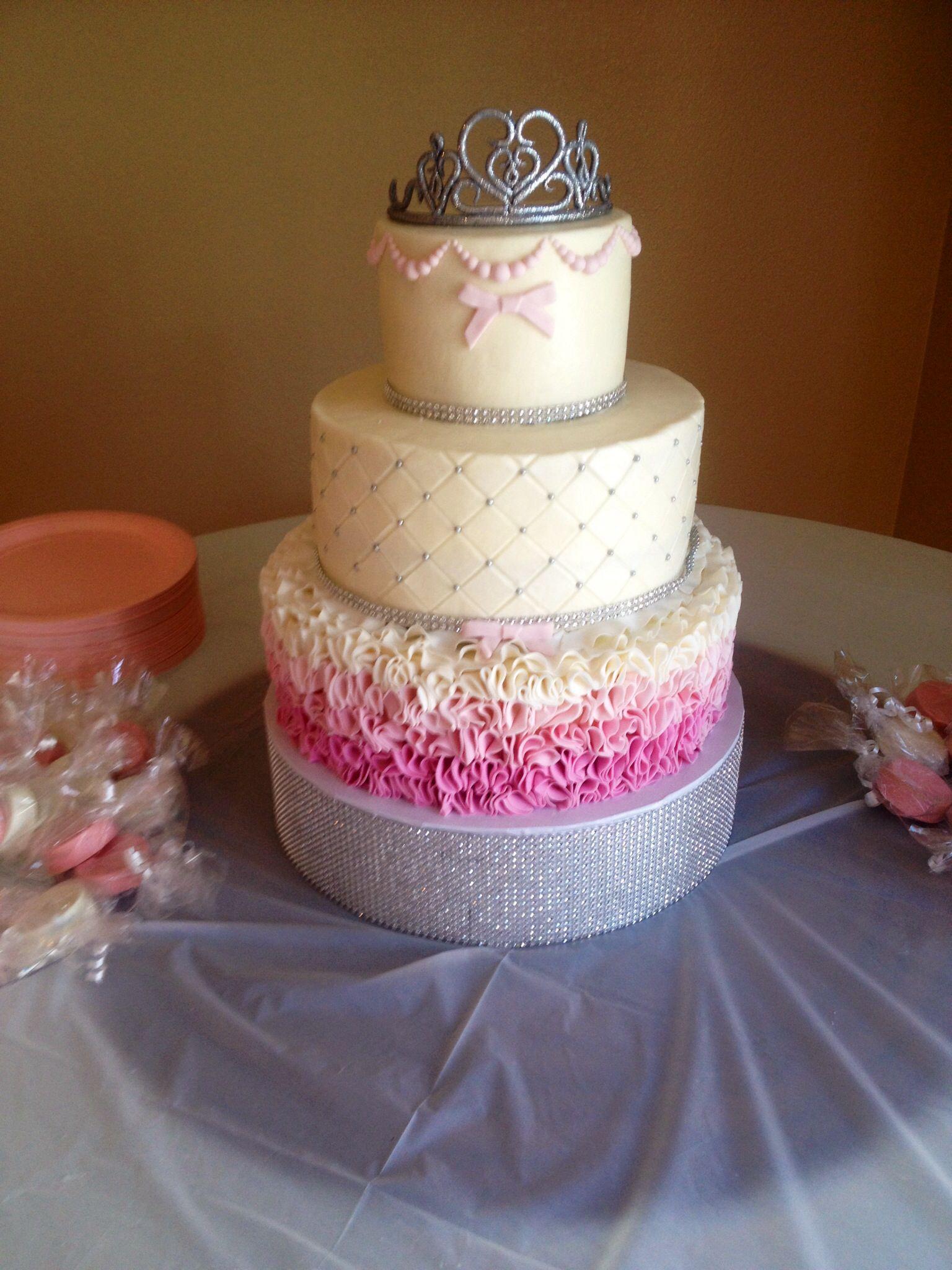 Superb Baby Shower Tutu And Tiara Themed Cake!! Handmade Tiara Cake Topper. Ombré  Ruffles
