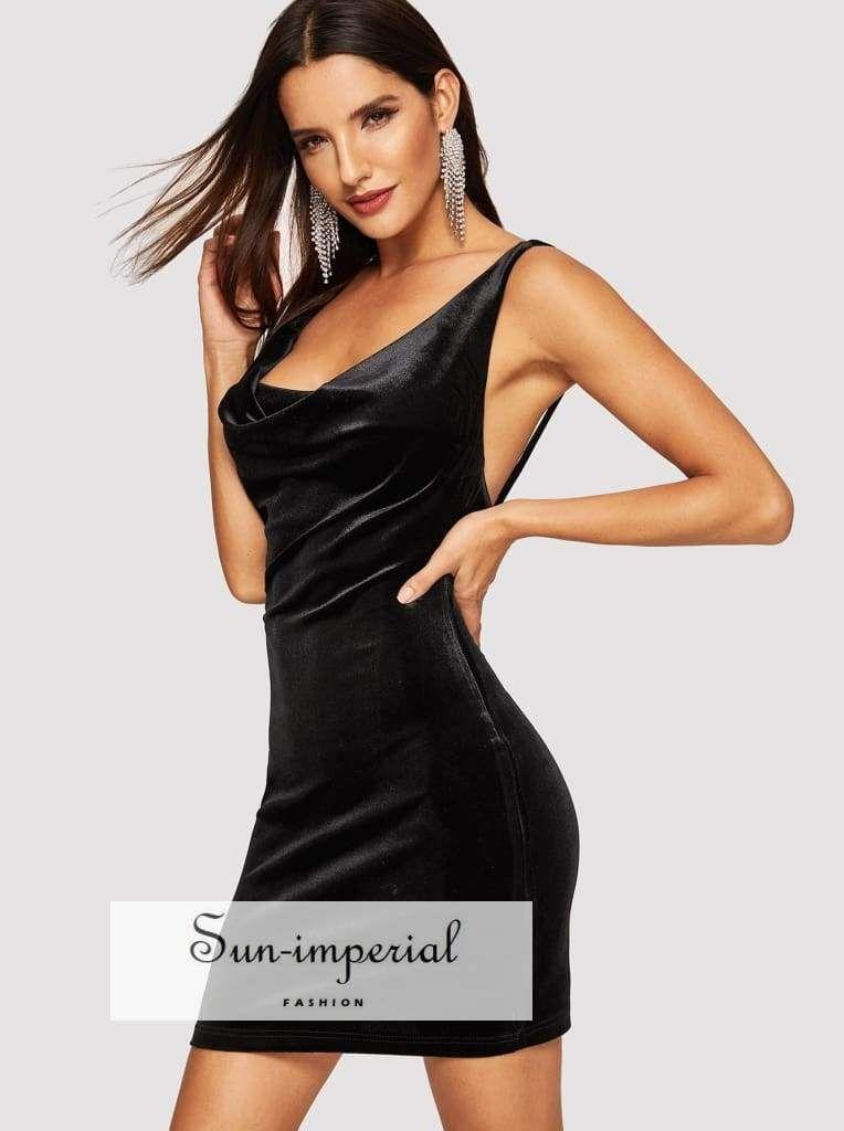 165759bab98 Color: Black Style: Sexy Composition: 90% Polyester, 10% Spandex Neckline:  Deep V Neck, Straps Sleeve Length: Sleeveless Silhouette: Bodycon Dresses  Length: ...