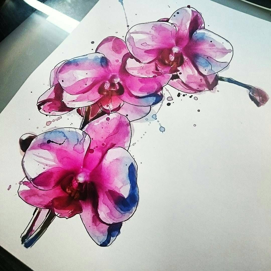 Tattoo Awesome Tats Tattoos Orchid Watercolor