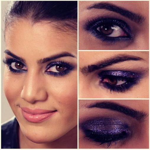 Purple Glitter Smokey Eye Tutorial!  Click the picture to get the look. #glitter #eyeshadow #makeup #holiday