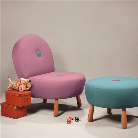 Decortie Chair, Purple & Turquoise