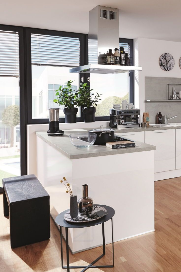 Küchenkombination Galileo, Front brillantweiß, Hochglanz