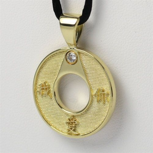 Wreath Chinese Symbol Pendant One Tone 24mm Chinese Symbols