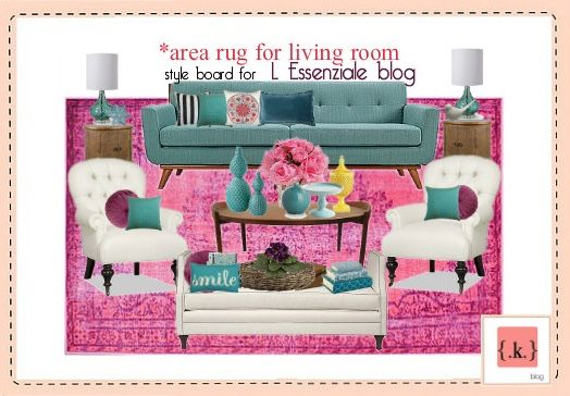 Главная | Light blue sofa, White armchair and Pink rugs