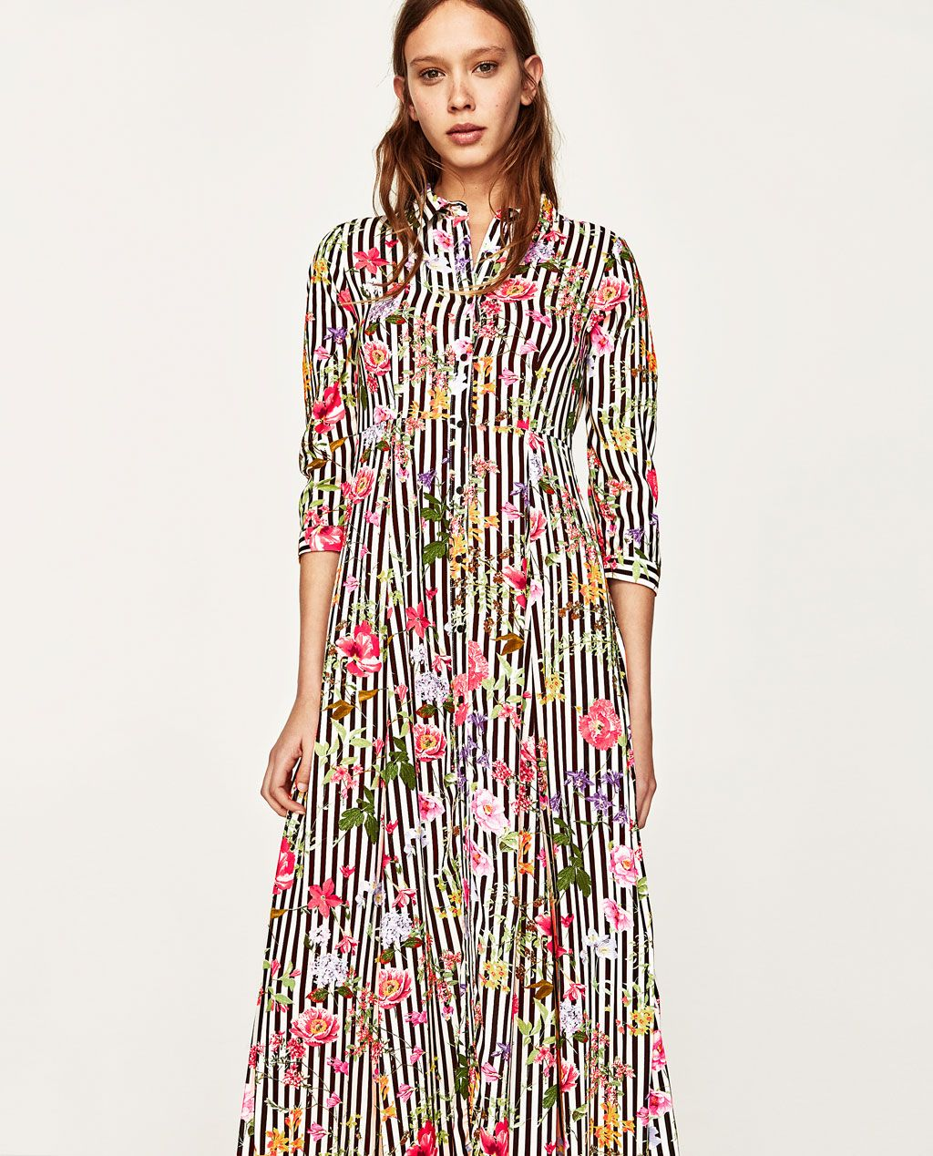 f783bf81 LONG STRIPED AND FLORAL PRINT DRESS-NEW IN-WOMAN | ZARA United States
