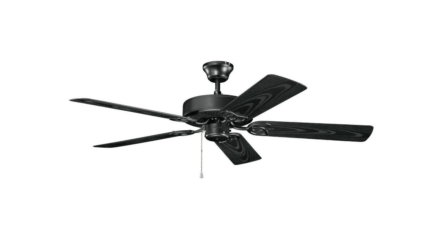 Kichler 401sbk Satin Black 52 Indoor Ceiling Fan With Blades Downrod And Pull Chain Lightingdirect