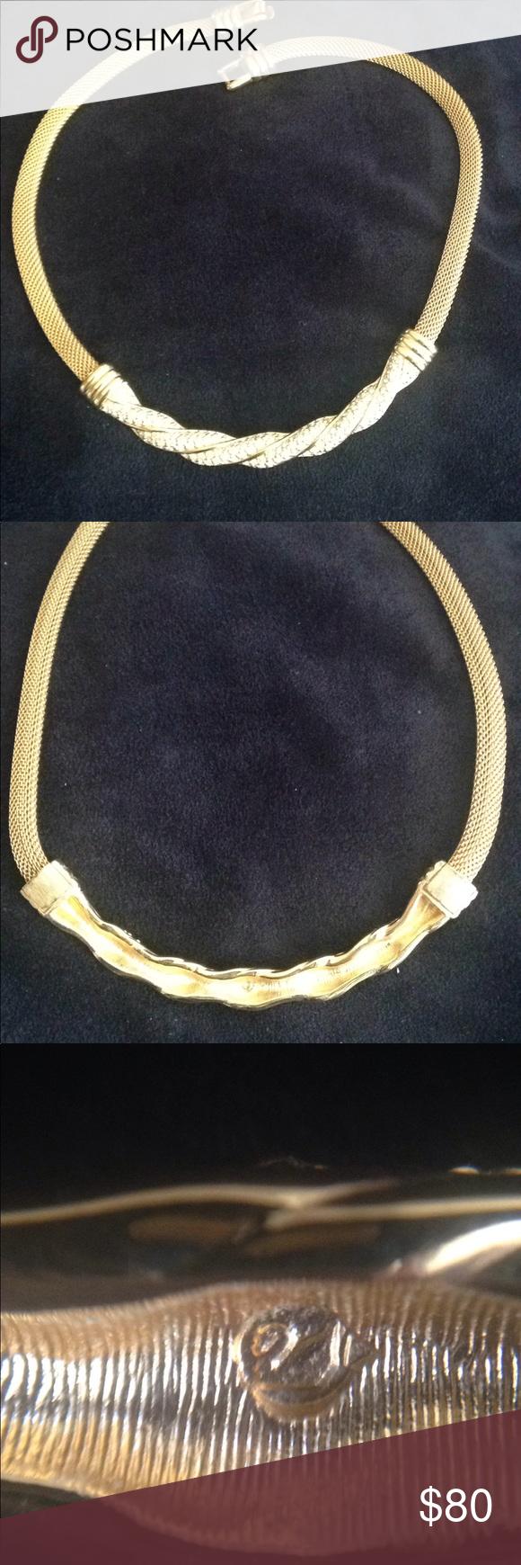 Vintage swarovski gold mesh choker wrhinestones choker swarovski