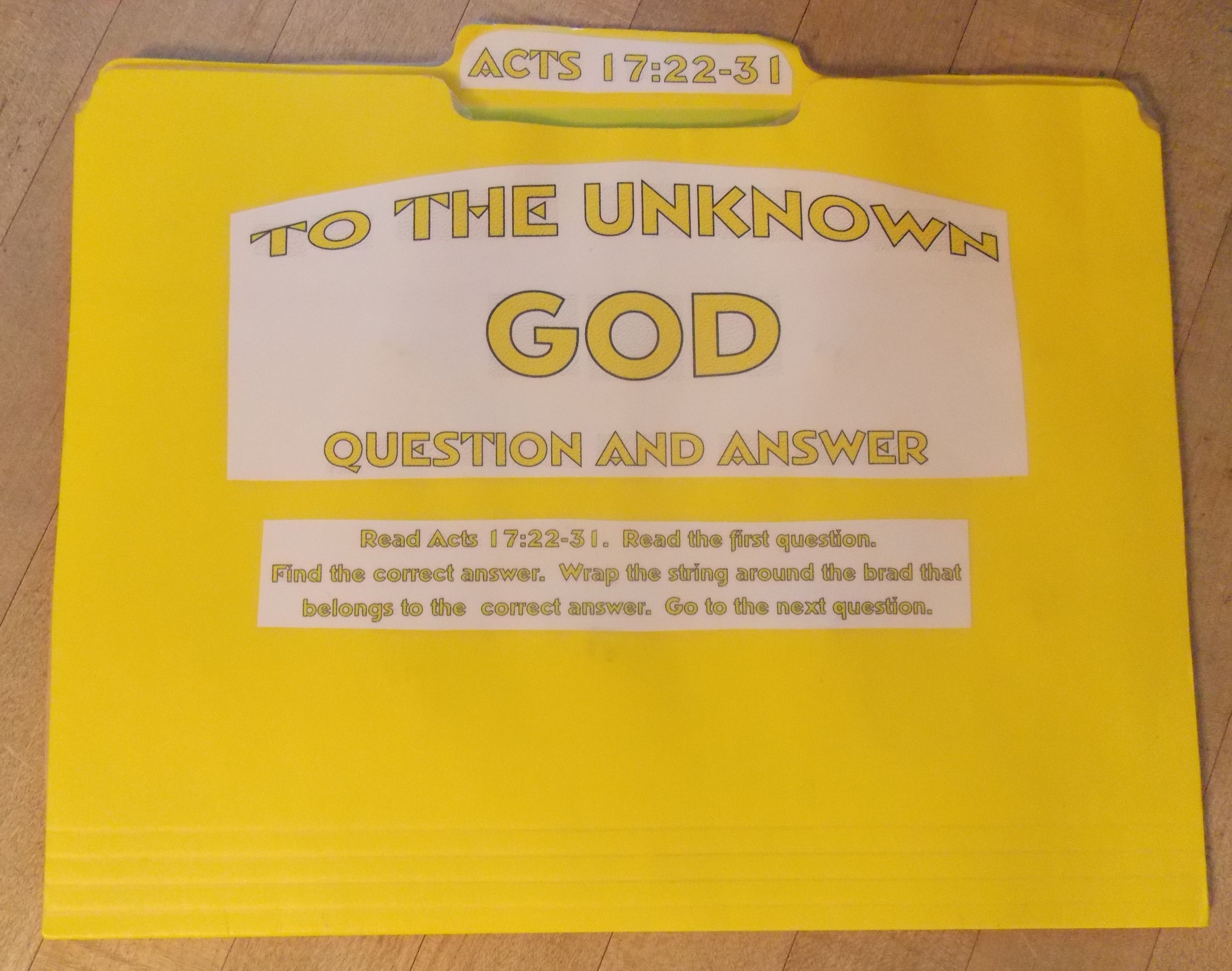 To The Unknown God Matching File Folder Activity with PDF to print.