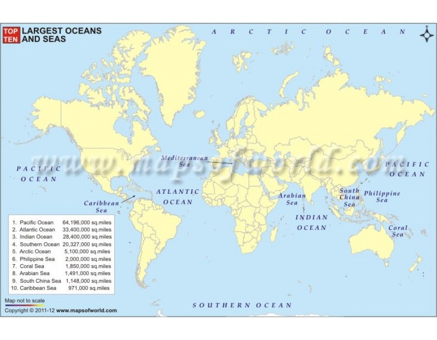 Top Ten Largest Oceans and Seas Thematic World Map World Map Pinterest