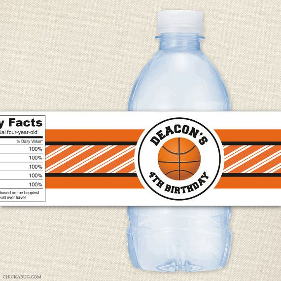 Personalized Sports Bottle Labels: Basketball Party Personalized Water Bottle Labels By