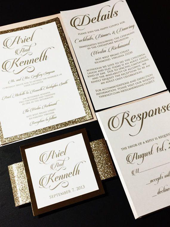 Lovely Blush And Gold Elegant Glitter Wedding Invitation   ARIEL VERSION. Glitter  CardstockGold ...