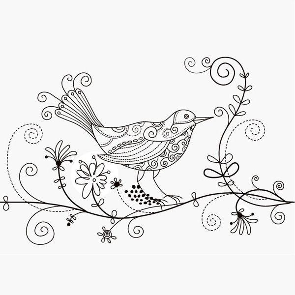 XOO Plate Hand Drawn Floral Art Bird Vector Illustration