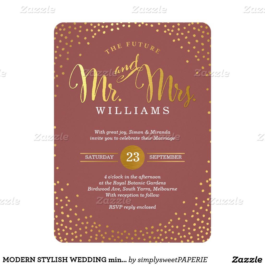 MODERN STYLISH WEDDING mini gold confetti marsala 5x7 Paper ...