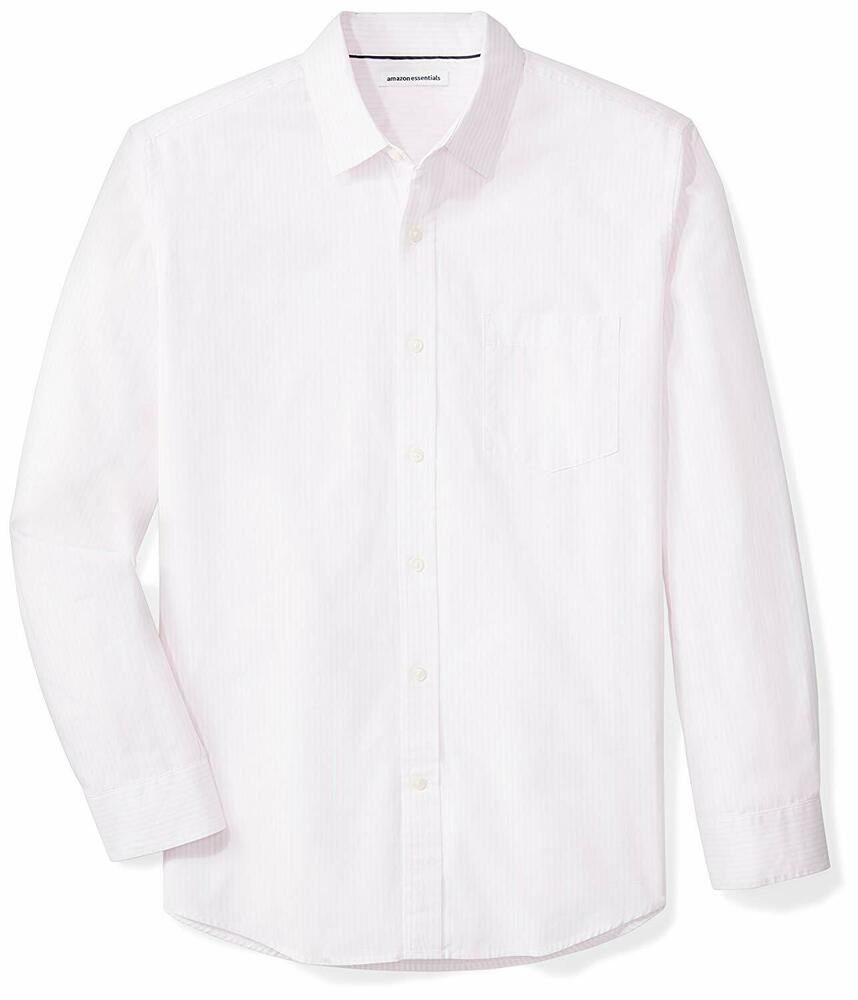 Essentials Mens Regular-Fit Long-Sleeve Stripe Casual Poplin Shirt