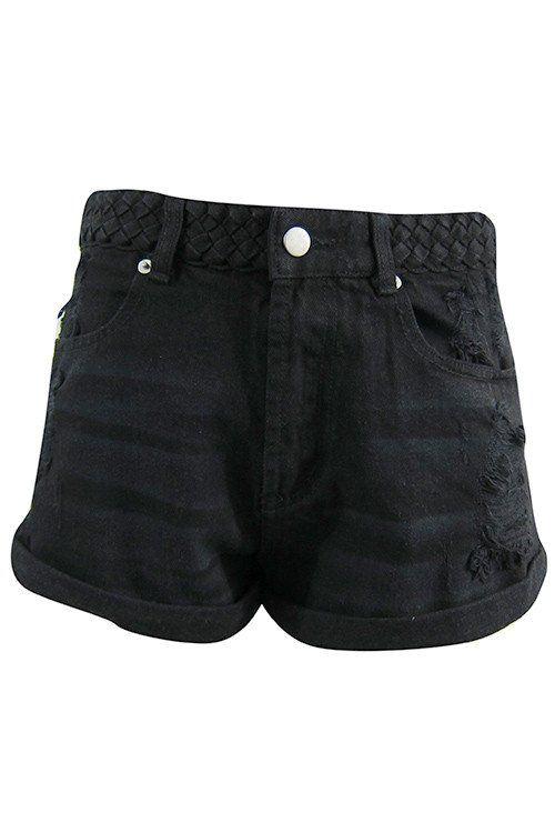 Braided Waist Distressed Denim Short - Black #shoppitaya