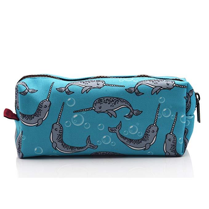 LParkin Narwhal Canvas Pencil Case Pen Bag