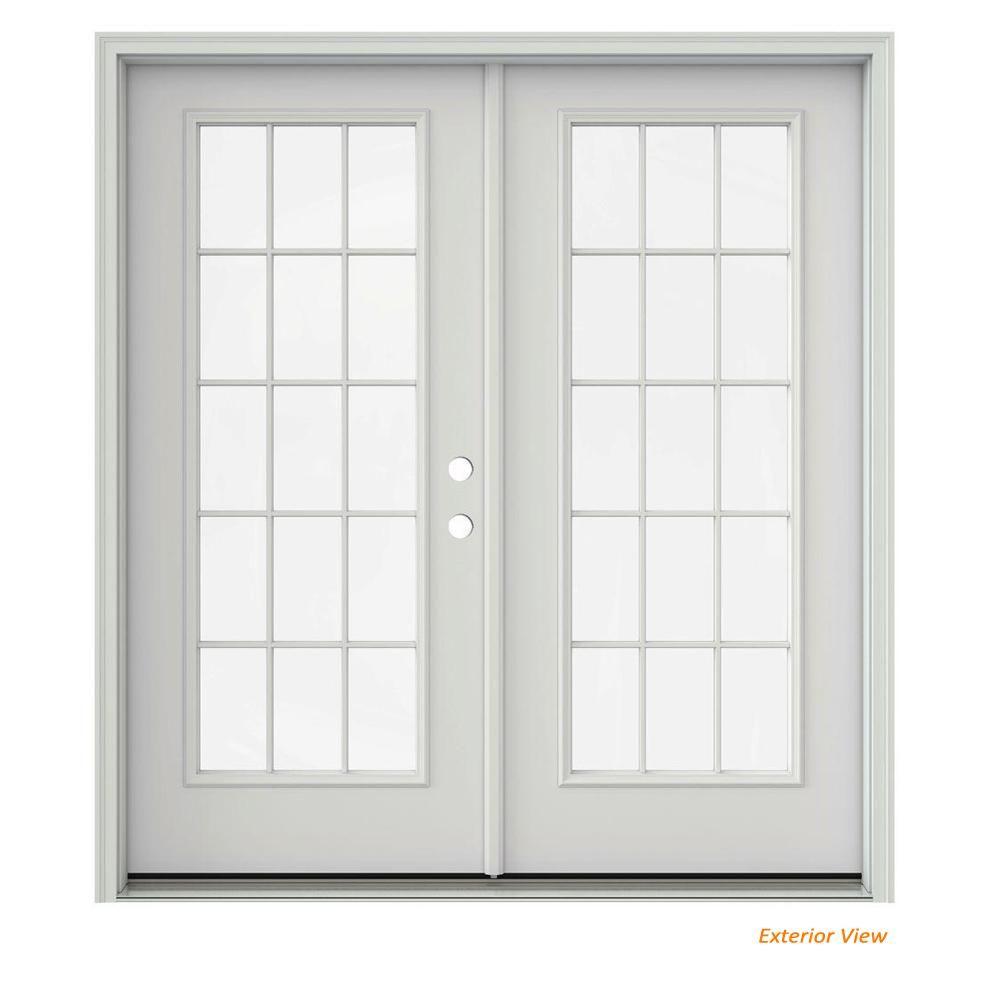 Jeld Wen 72 In X 80 In Primed Steel Left Hand Inswing 15 Lite Glass Active Stationary Patio Door Patio Doors French Doors Patio Doors