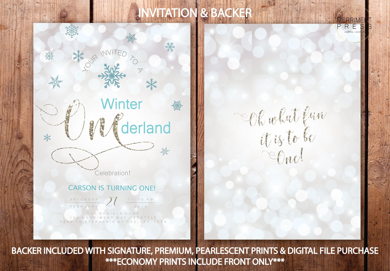 Winter Onederland Invitations Boy First Birthday Blue White Silver ...