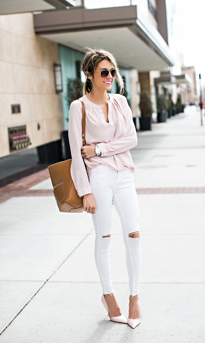 1115932ae62 Christine Andrew is wearing a blush pink top and shoes from Harlowe and  Graham and Kurt Geiger respectively