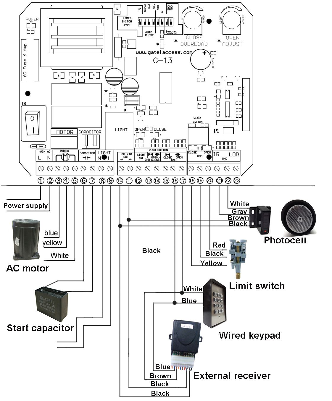da3000 door access wiring diagram 1996 ford explorer transmission gate1 ga13 circuit board connections 40