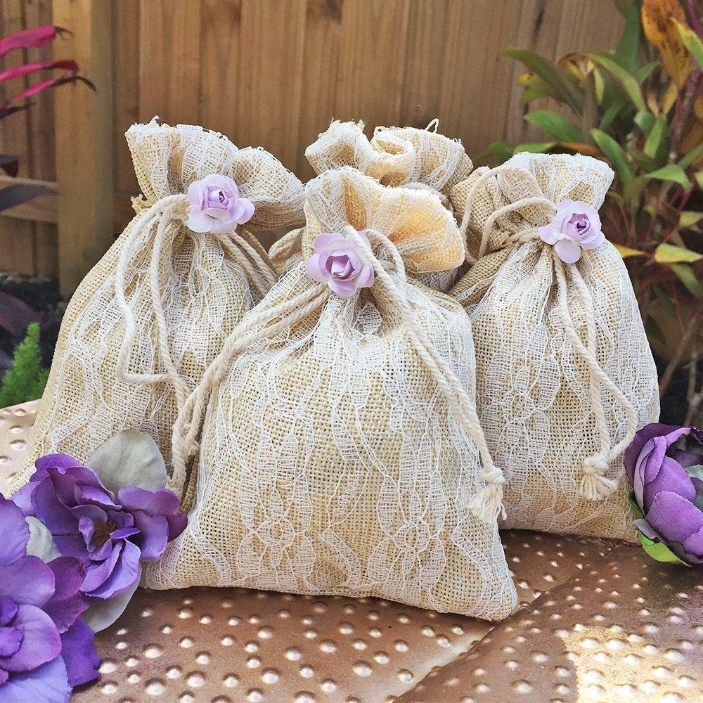 Burlap and Lace Favor Bags - Wedding Favor Bags - Party Favor Bags ...