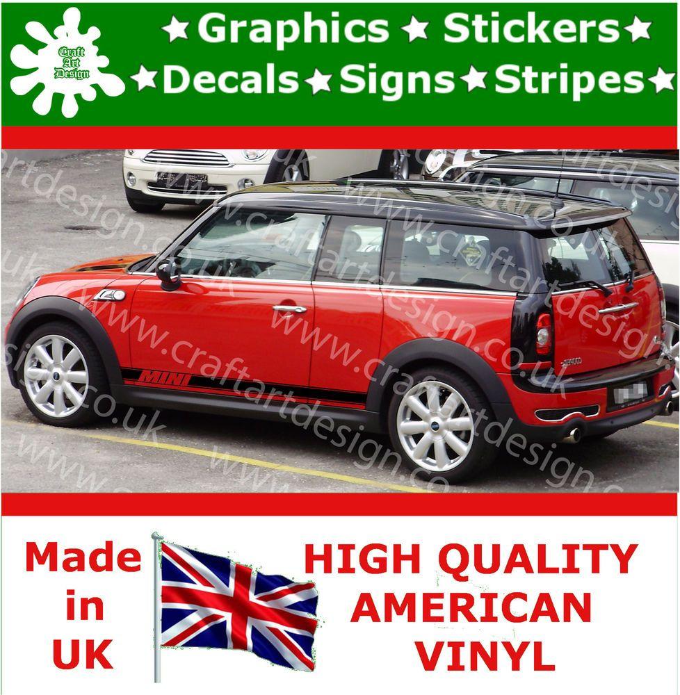 Mini Cooper Large Side Racing Stripe Car Stickers Vinyl Race Car