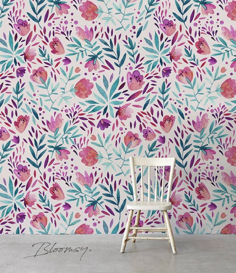 Removable wallpaper Purple vintage flowers Wallpaper