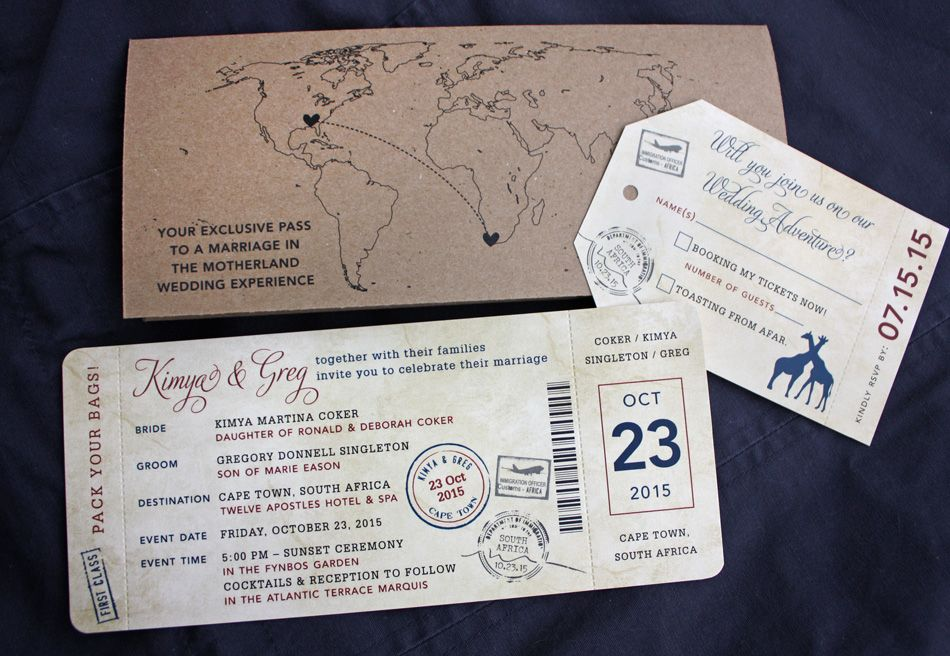Navy, Burgundy \ Kraft Brown World Map, Giraffes \ South Africa - invitation ticket