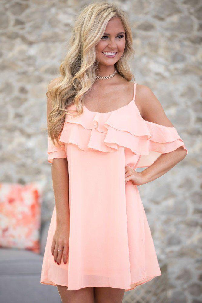 Cute Pink Ruffle Double Layered Short Dress To Wear Wedding