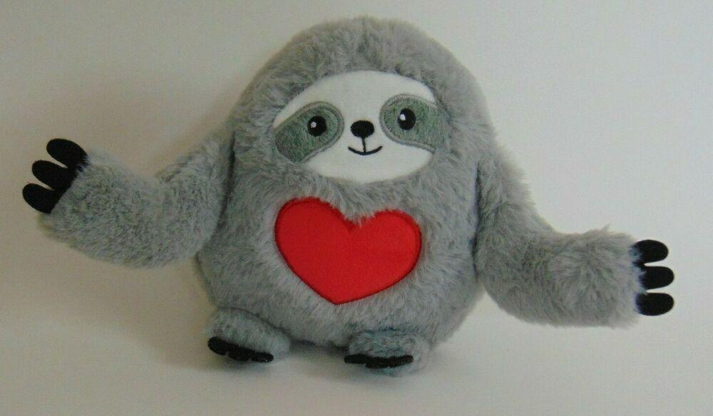 8 hallmark plush sloth adorable heart love grey red