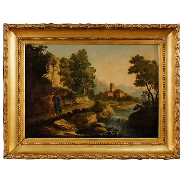 1stdibs Painting - 18Th Century Landscape Characters Italian