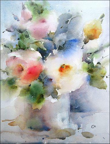 Flowers On Fabriano Peintures Florales Art Floral Peinture Fleurs