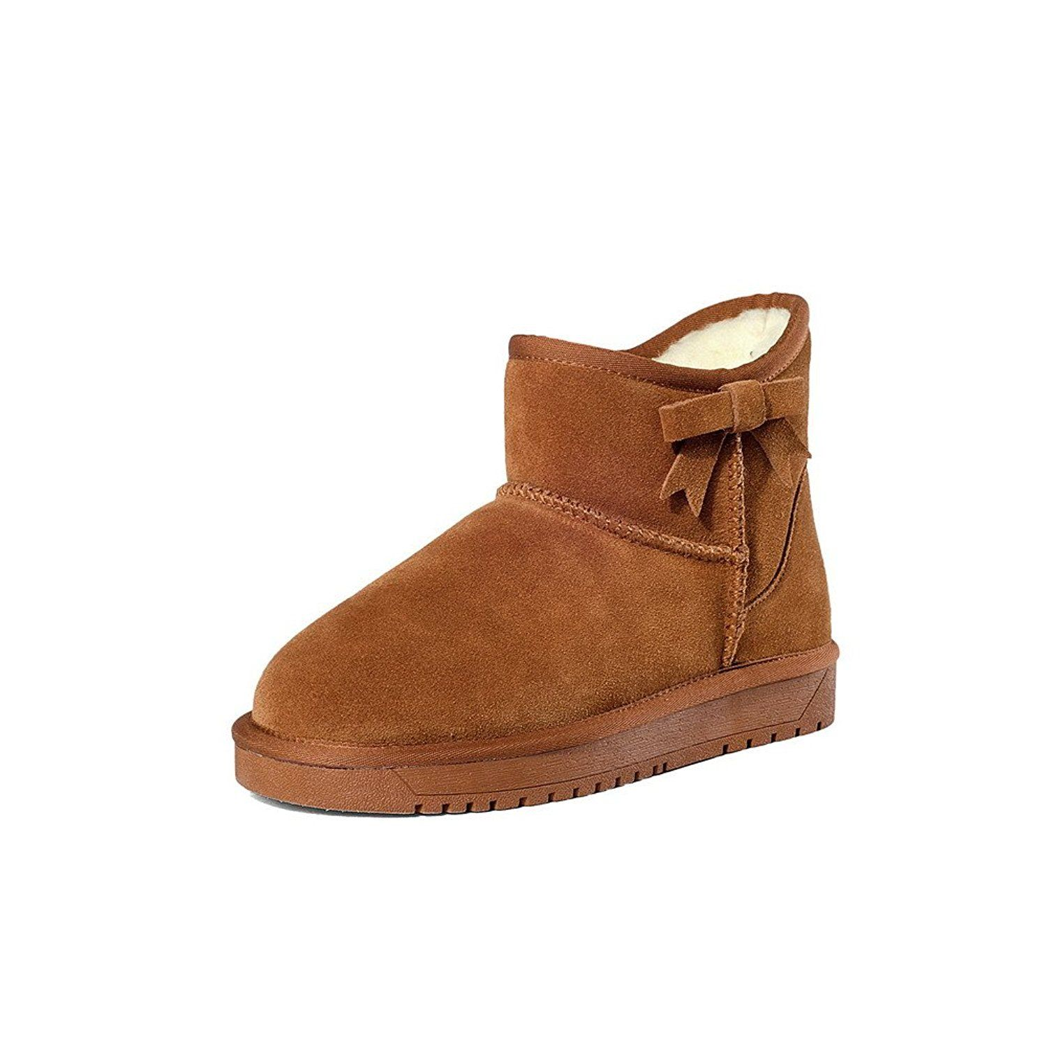 Women's Pull-on Low-Heels Imitated Suede Solid Low-top Snow-Boots