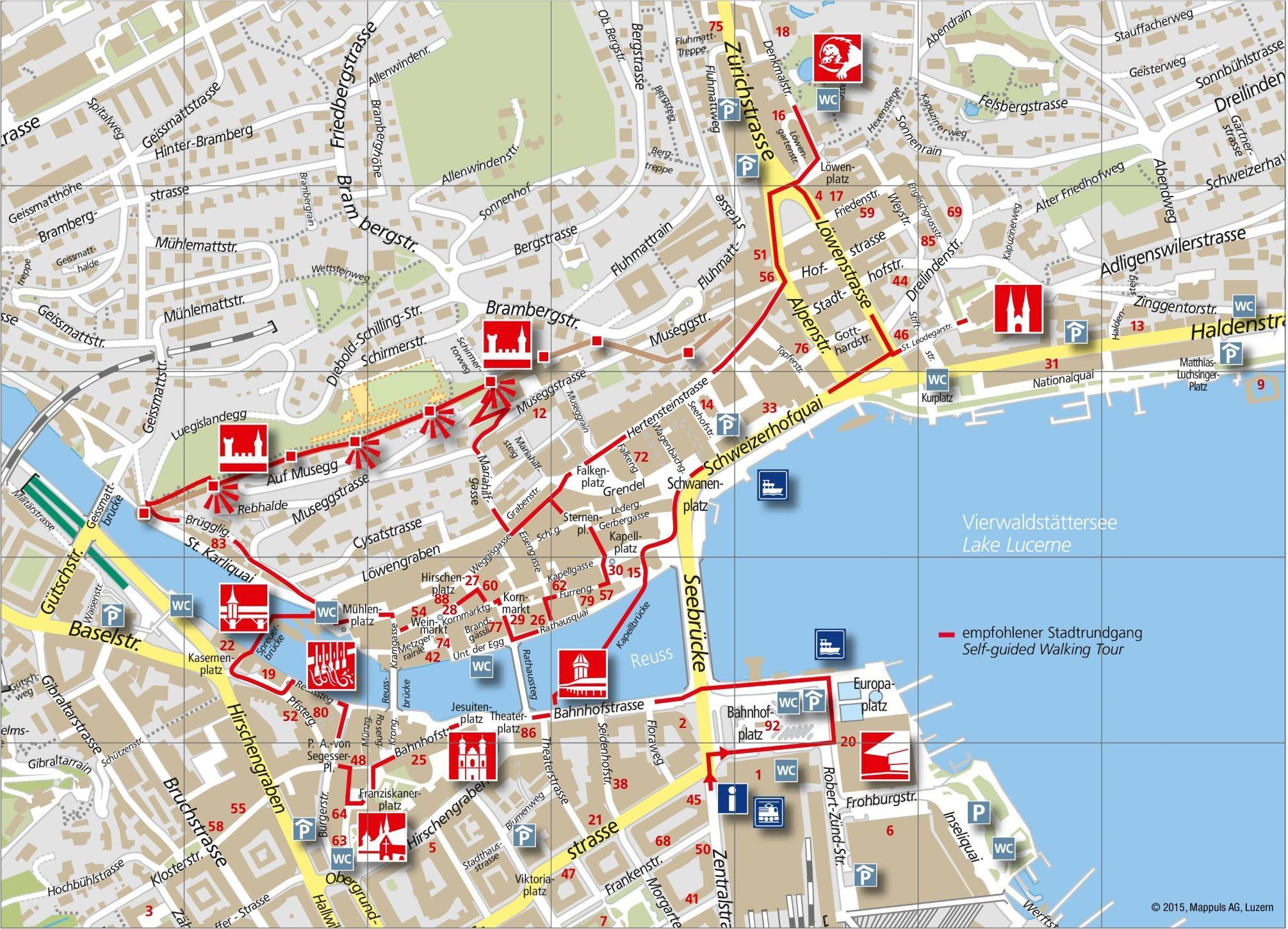 Lucerne City Maps Switzerland Maps Of Lucerne Luzern Lucerne