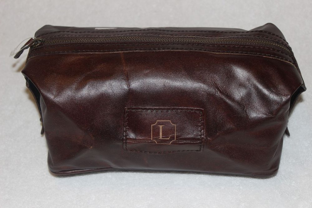 a1088866cca9 Pottery Barn Travel Saddle Leather Toiletry Case Bag Chocolate NWOT Free  Ship L  PotteryBarn