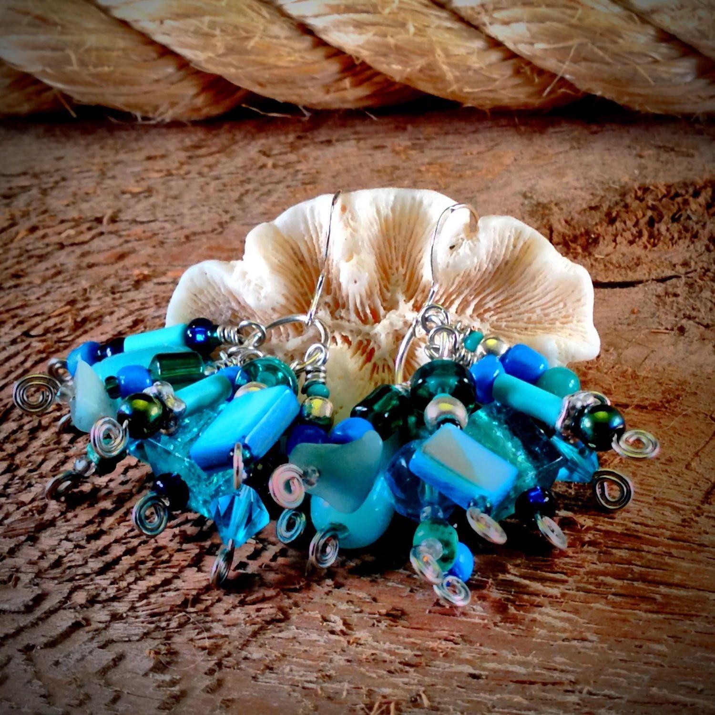 Aquamarine Cluster Earrings by JewelryOohShiny on Etsy