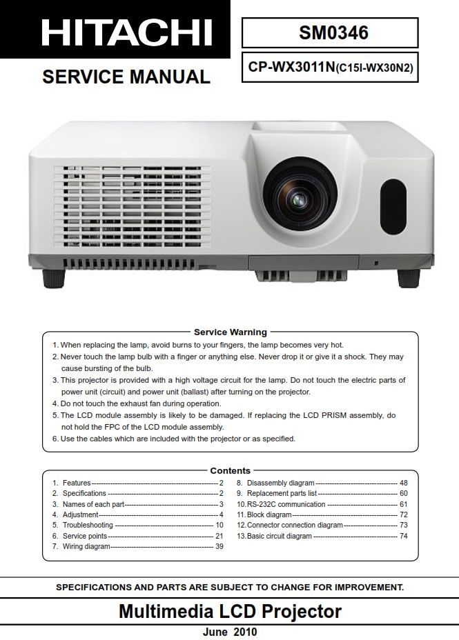 Pin On Hitachi Projector Service Manuals