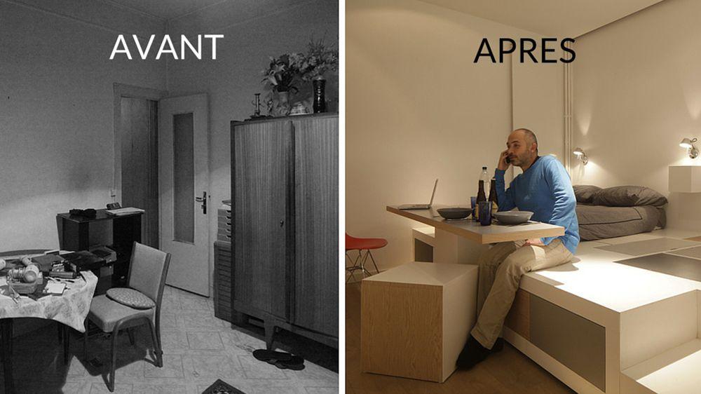 Avant / Après : Créer des rangements dans un petit studio - M6 ...