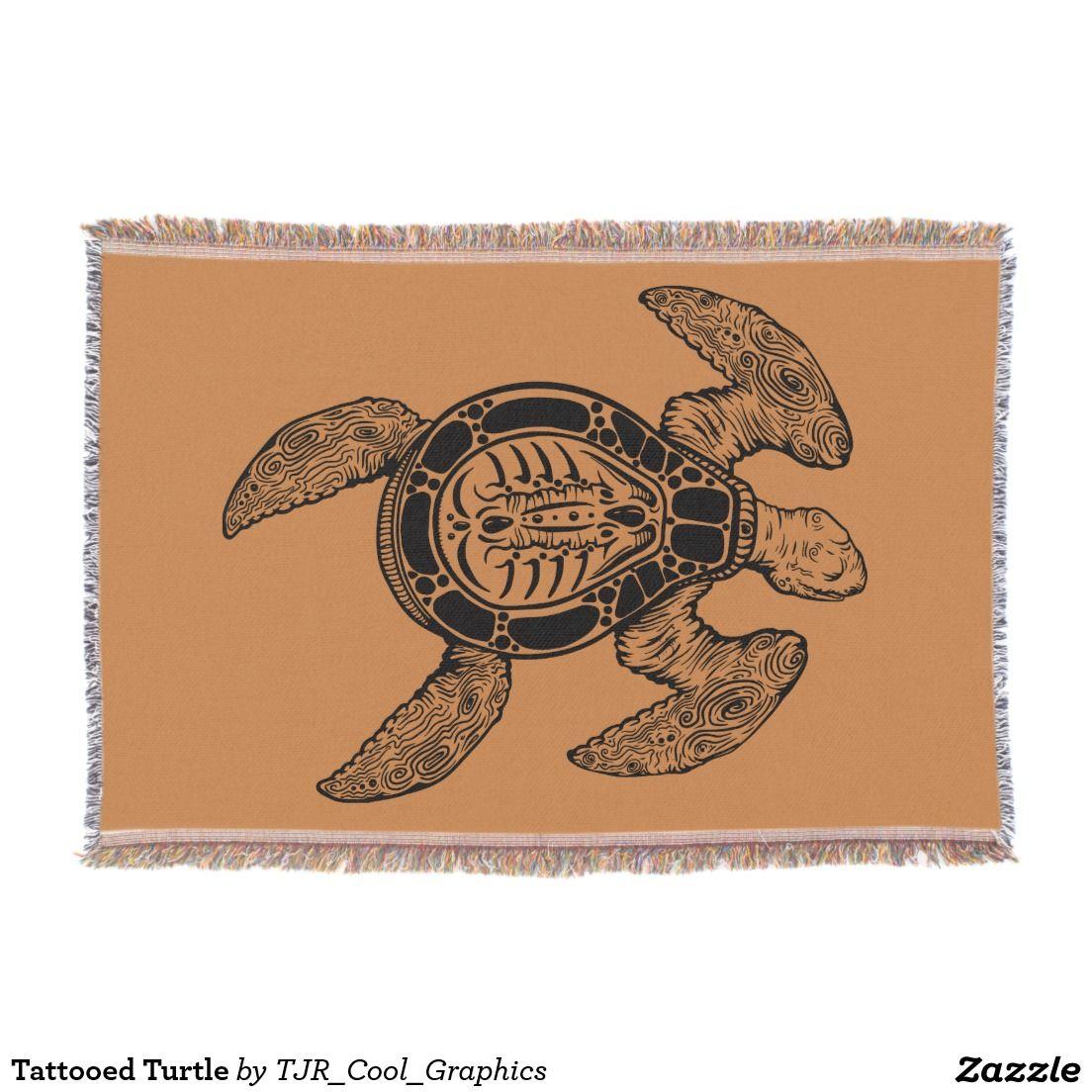 Tattooed Turtle Throw Turtle Ocean Animals Sea Turtle