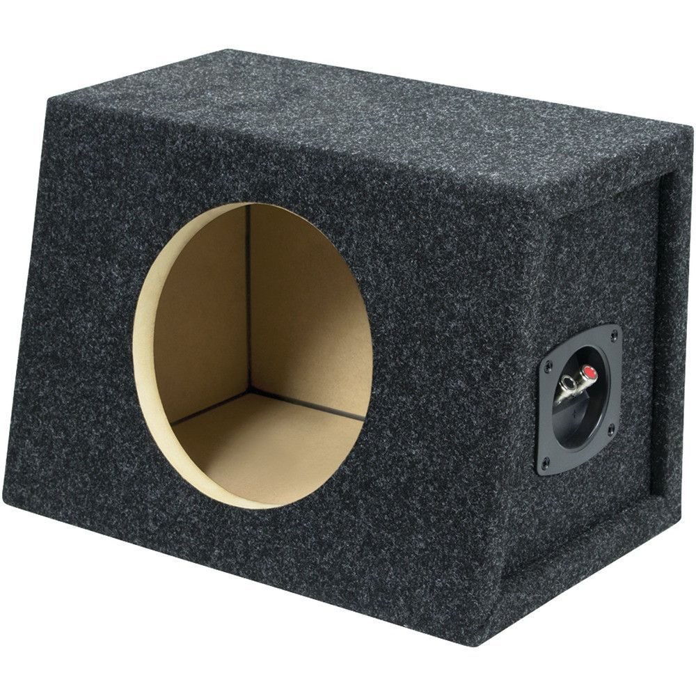 "Atrend Bbox Series 8"" Single Sealed Enclosure. MDF construction with glued & braced assembly Miter & dado construction Premium carpeted finish Net cu ft: .46 per side Speaker hole cutout: 7.15"" Dim: 10""H x 14.12""W x 6.87""-9.75""D"