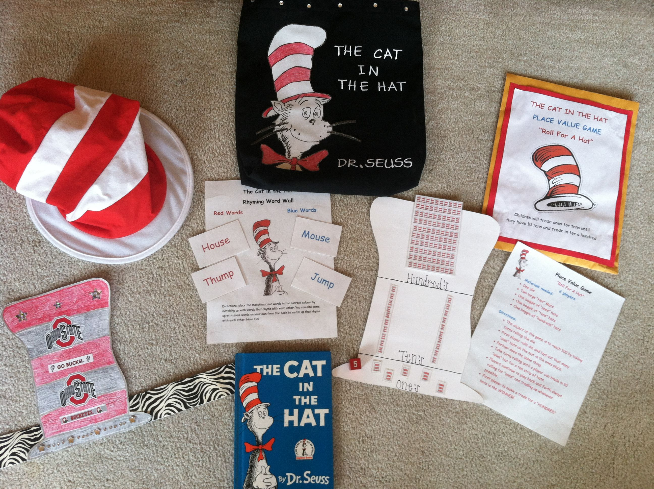 Cat In The Hat Literature Bag With Fun Math And Reading
