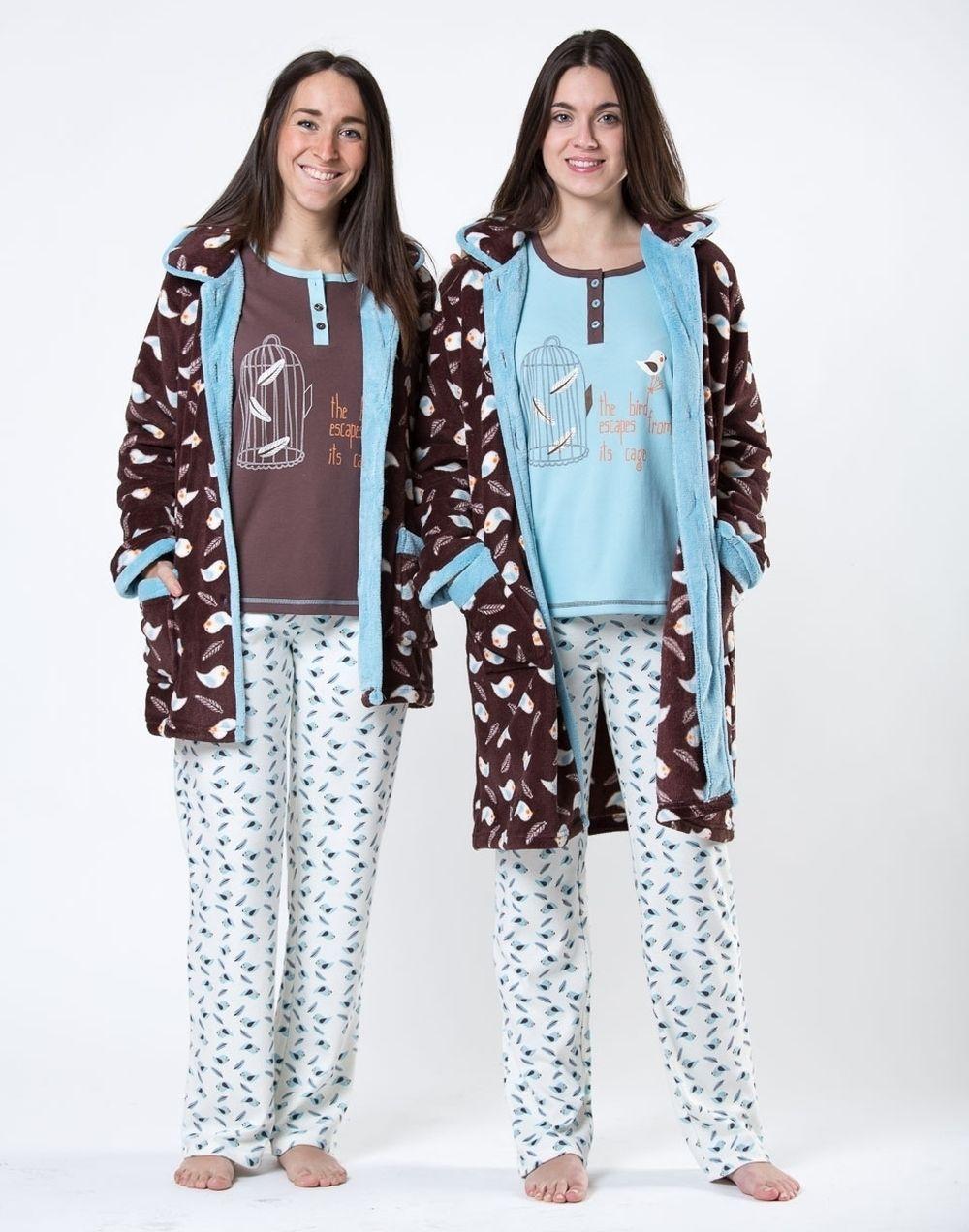 33bdec825b pijama bata mujer chica señora estampado gris verde pantalon camiseta largo  bicicleta flores topos diseño ropa noche dormir marron pajaros