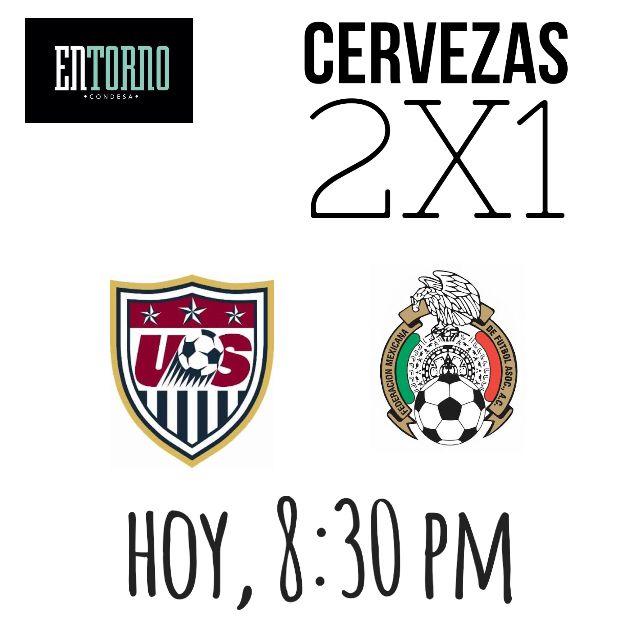 ¿Quién ganará el boleto para la Copa Confederaciones: Estados Unidos o México?  Los invitamos a ver el juego hoy en #EntornoCondesa  ¡Cervezas 2x1 durante el partido!