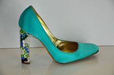 Roberto Cavalli  Turquoise Satin Pump with jewel embellished heel 39 ~ SO COOL! I just wish they wer on a shorter, wider wedge!